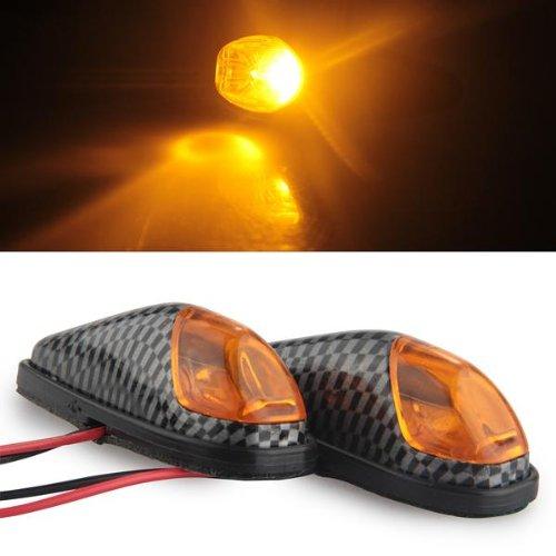 2x Motorcycle Orange LED Turn Signal Light Bullet Flush Mount Carbon Fiber Mini
