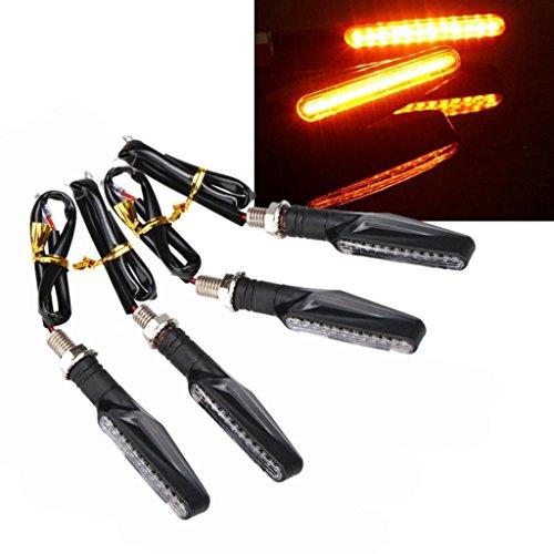 Efaster Unique 4 pcs Motorcycle LED Turn Signal Indicators Amber Blinker Light Universal