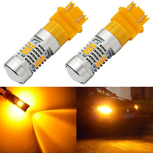 ENDPAGE 3157 3156 3057 3056 LED Bulb 2-pack Amber Yellow Extremely Bright 21-SMD with Projector Lens 12-24V Works as Turn Signal Blinker Lights