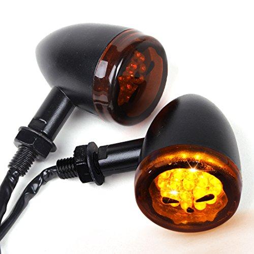2PCS Black Motorcycle Turn Signal Indicators Skull Lens 20 LED Blinkers Lights Amber Yellow Universal Fit