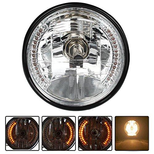 Andux Land Retro Round 7inch Motorcycle Headlight LED Turn Signal Lamp H4 Black QDD-01