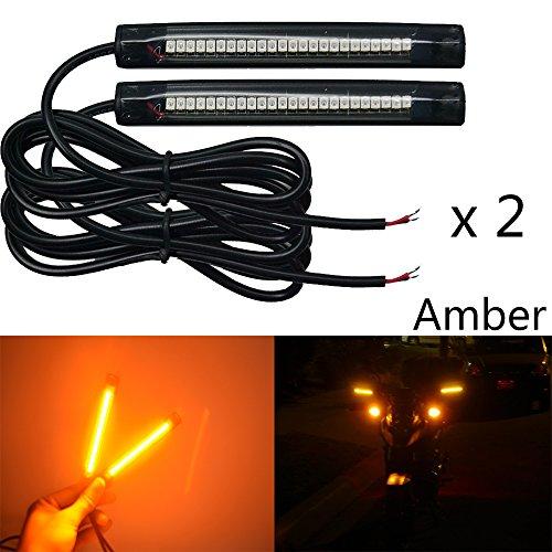 NBWDY 2x 10cm 24led pvc strip Universal Motorcycle Bike LED Turn brake Signal Indicator Blinker Light 12v Amber