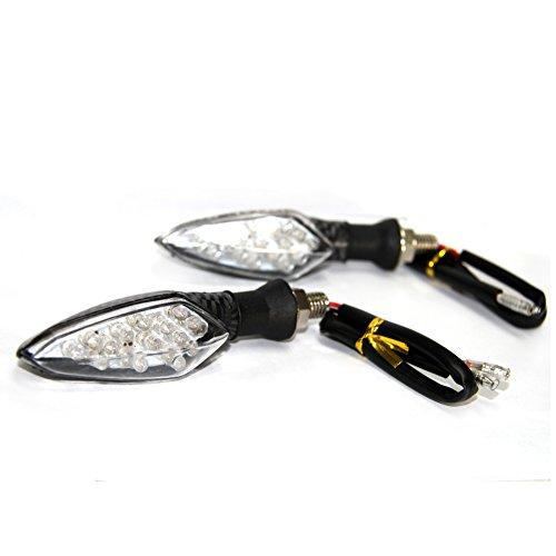 Pack of 2 Motorcycle Motorbike Carbon LED Turn Signal Indicators Amber Light