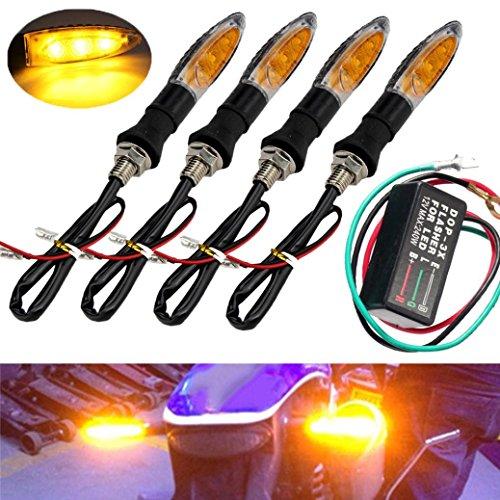 YRD TECH 4PCS 3 LED Universal Motorcycle Turn Signal Indicator Light  Flasher Relay