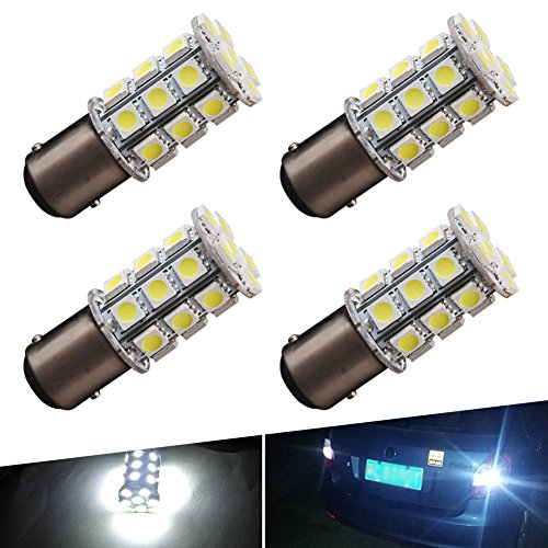 YINTATECH 4x Super White 6000K LED Car Lights Bulb 1157 BAY15D 27SMD 5050 Car RV Turn Signal Parking Lights 7528 2057 2357 DC 12V