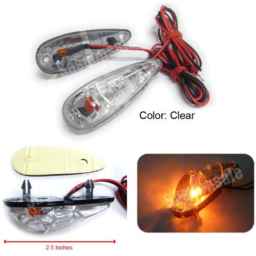 MIT Motors - CLEAR - Mini Universal Motorcycle Turn Signals Blinker Indicator - HONDA CBR 600 F2 F3 F4 F4i 900 400RR 600RR 900RR 929RR 954RR 1000RR