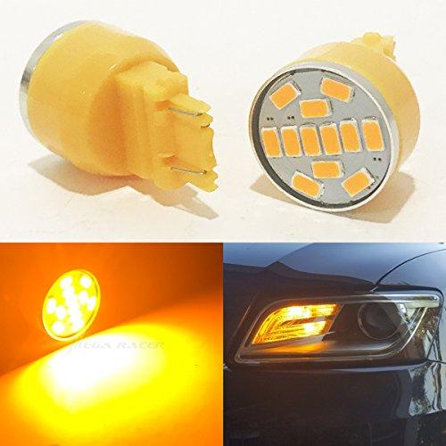 2 Pc 3157 Amber-Yellow LED 19 Chip P277W W25x16Q WU25q T25 Front Turn Signal Light Bulb Replace 3057 3156 3357 4157