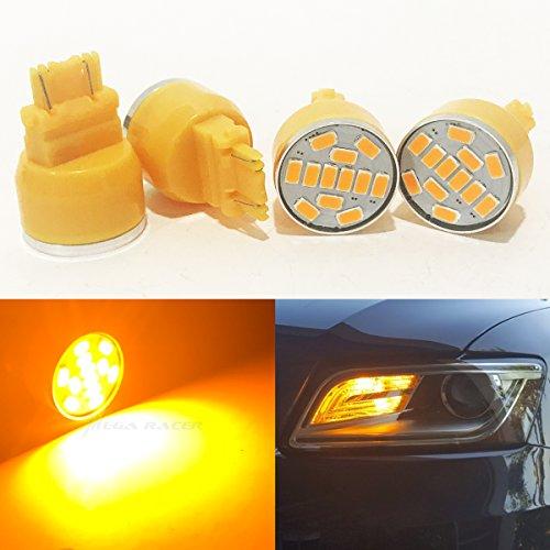 4 Pc 3157 Amber-Yellow LED 19 Chip P277W W25x16Q WU25q T25 Front Turn Signal Light Bulb Replace 3057 3156 3357 4157