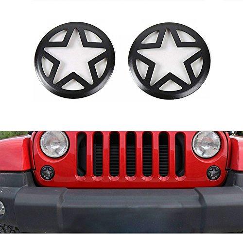 Opar 2007-2018 Jeep Wrangler Front Turn Signal Light Cover for JK Wrangler Unlimited - Pair Five Star