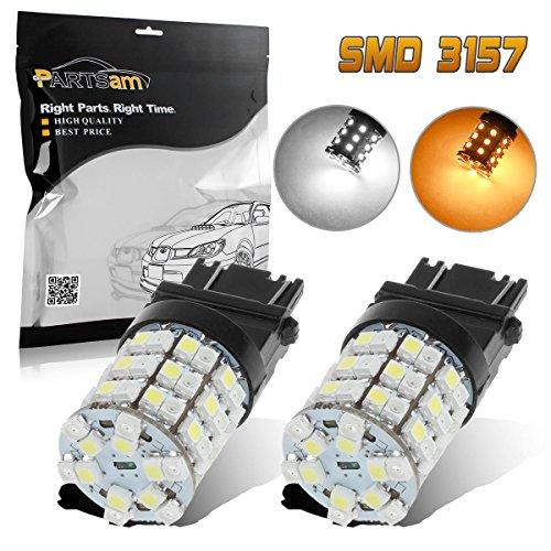 Partsam 2x 3157 3357 3457 Switchback Amber White Front Turn Signal LED Light 60 Epistar LED Bulb High Bright Turn Signal Light