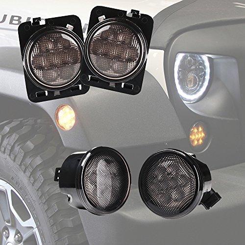 Xprite Smoke Lens Yellow LED Front Turn Signal Light Fender Side Marker Parking Light Assembly for 2007-2017 Jeep Wrangler JK JKU