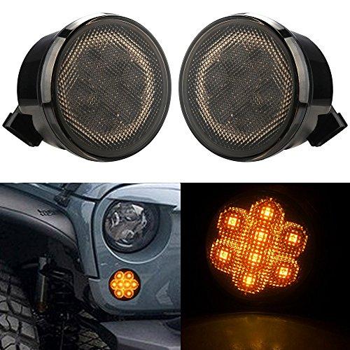 Aukmak Smoke Lens Amber Front LED Turn Signal Light Assembly for 2007~2017 Jeep Wrangle JK Turn Lamp Indicator parking lights 2pcs