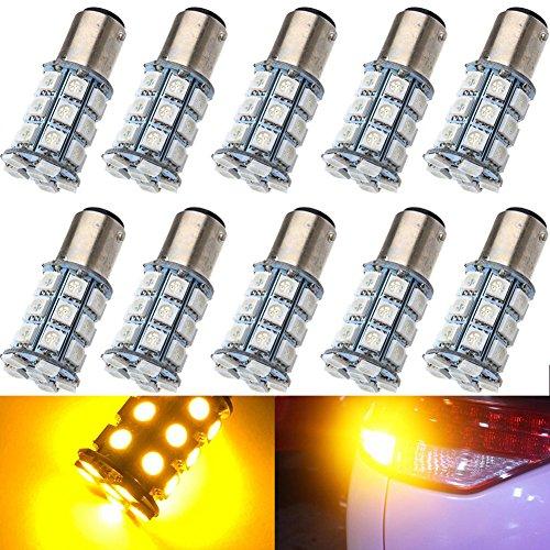 KATUR 10-Pack Amber Super Bright 750Lums 1157 BAY15D 1016 1034 1196 2057 2357 Base 27 SMD 5050 LED Replacement for Car Incandescence Bulb RV Camper Brake Turn Lamp Lights DC 12V 8000K