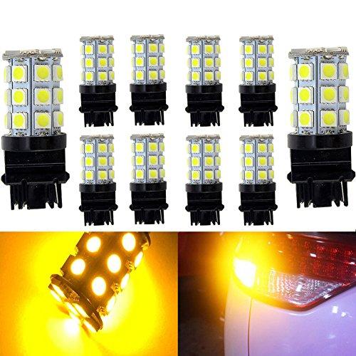 KATUR 10-Pack Amber Super Bright 750Lums 3156 3156A 3456 Base 27 SMD 5050 LED Replacement for Car Incandescence Bulb RV Camper Brake Turn Lamp Lights DC 12V 8000K