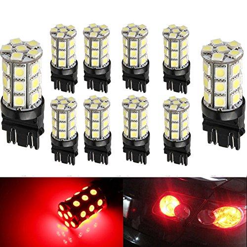 KATUR 10-Pack Red Super Bright 750Lums 3157 3047 3057 3155 3457 4057 Base 27 SMD 5050 LED Replacement for Car Incandescence Bulb RV Camper Brake Turn Lamp Lights DC 12V 8000K
