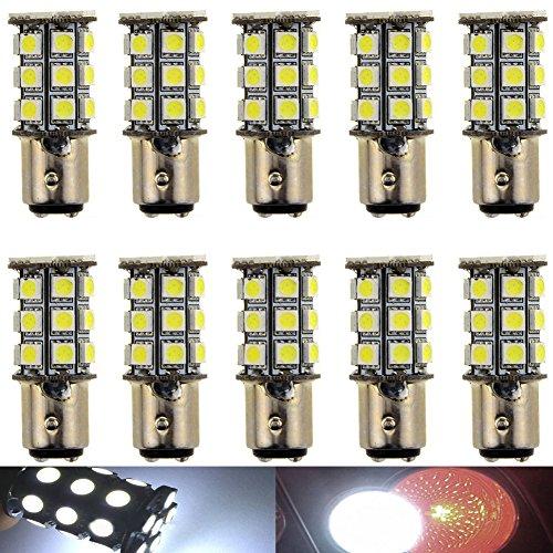 KATUR 10-Pack Super White 750Lums 1157 BAY15D 1016 1034 1196 2057 2357 Base 27 SMD 5050 LED Replacement for Car Incandescence Bulb RV Camper Brake Turn Lamp Lights DC 12V 8000K