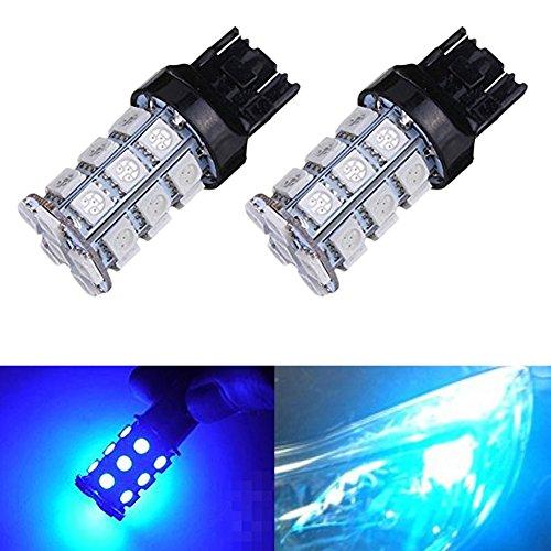 KATUR 2-Pack Blue Super Bright 750Lums 7443 7444NA Base 27 SMD 5050 LED Replacement for Car Incandescence Bulb RV Camper Brake Turn Lamp Lights DC 12V 8000K
