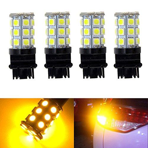 KATUR 4-Pack Amber Super Bright 750Lums 3156 3156A 3456 Base 27 SMD 5050 LED Replacement for Car Incandescence Bulb RV Camper Brake Turn Lamp Lights DC 12V 8000K