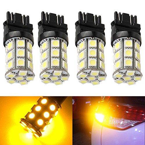 KATUR 4-Pack Amber Super Bright 750Lums 3157 3047 3057 3155 3457 4057 Base 27 SMD 5050 LED Replacement for Car Incandescence Bulb RV Camper Brake Turn Lamp Lights DC 12V 8000K
