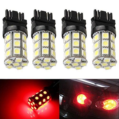 KATUR 4-Pack Red Super Bright 750Lums 3157 3047 3057 3155 3457 4057 Base 27 SMD 5050 LED Replacement for Car Incandescence Bulb RV Camper Brake Turn Lamp Lights DC 12V 8000K