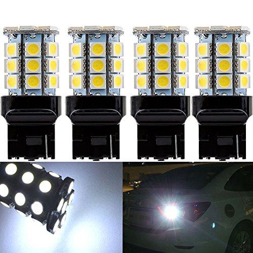 KATUR 4-Pack Super White 750Lums 7440 7440NA 7441 992 Base 27 SMD 5050 LED Replacement for Car Incandescence Bulb RV Camper Brake Turn Lamp Lights DC 12V 8000K