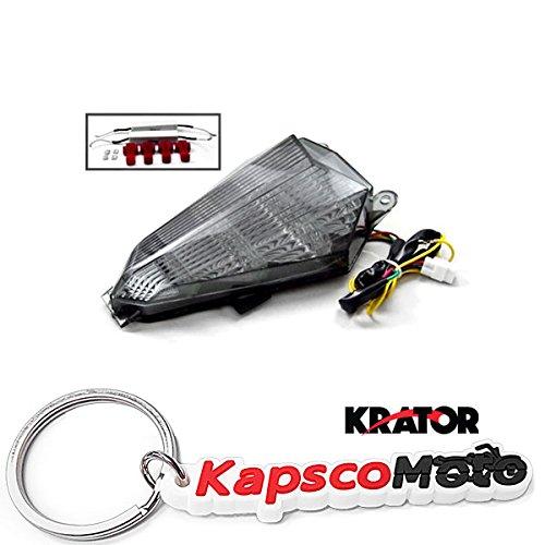 Krator 2006-2012 Yamaha YZF R6 LED TailLights Brake Tail Lights with Integrated Turn Signals Indicators Smoke Motorcycle  KapscoMoto Keychain