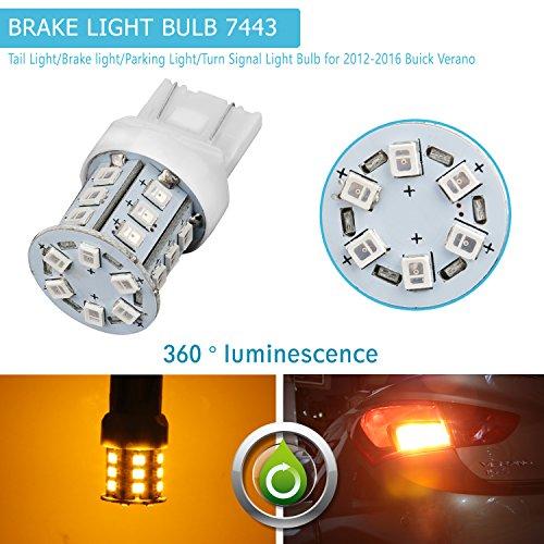 LED Tail Light BulbZISTE LED Car Tail Light Rear Turn Sginal Lights Bulbs 2835-SMD 7443 Led W21W T20 7443 7440 7441 7444 992 Yellow Color 2 Pcs