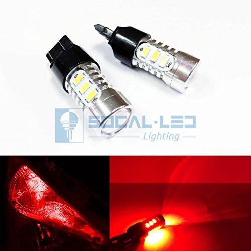 SOCAL-LED 2x T20 7443 LED Bulbs 15W SMD 5730 High Power Bright Turn Signal Light Brake Light Tail Light Red