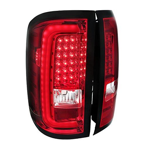 Red GMC Sierra 1500 2500HD 3500HD Pickup Rear Brake Lamps LED Bar Tail Lights
