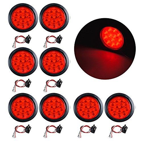 4 Round 12-LED Trailer Tail Light Kit Stop Turn Brake Reverse Back-up Tail Light 4X Red
