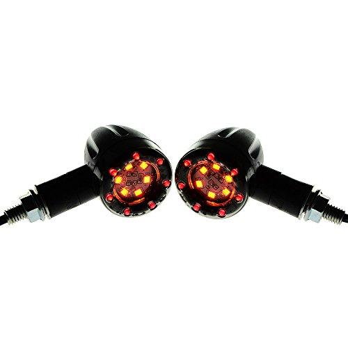 Astra Depot 2pcs Amber Red Smoke LED Motorcycle Brake Turn Signal Lights Cruiser Bobber Chopper