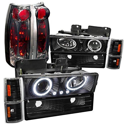 Gmc C10 Halo Blk Projector Headlights Corner Bumper Lights Smoked Tail Lamps