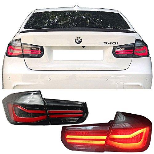 Tail Lights Fits 2012-2017 BMW 3 Series F30 LCI  Smoke Housing Red Lights Rear Tail Lamps By IKON MOTORSPORTS  2013 2014 2015 2016