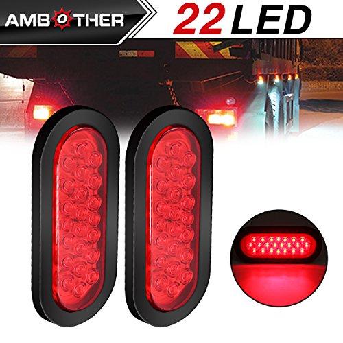 AMBOTHER 2pcs 6 22-LED Oval Red StopTurn SignalBrakeMarkerTail LED Light Flush Mount for Truck Trailer Trail Bus 12V Red Pack of 2