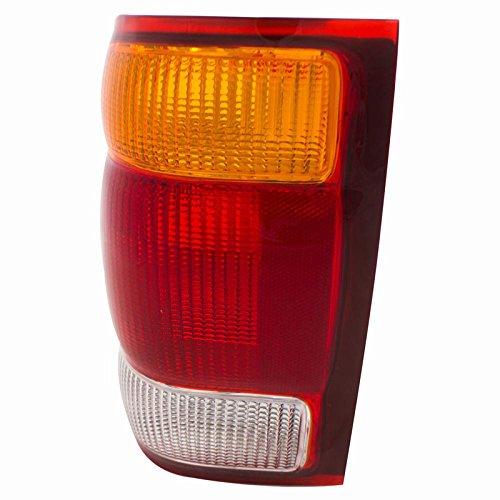 CarPartsDepot 99 Ford Ranger Driver Tail Lamp FO2800121 Red Brake Amber Signal Clear Rev Lens