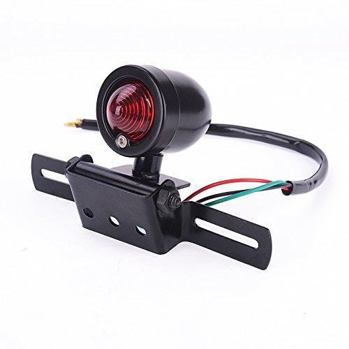 Iztoss New Univeral Black Retro Bullet Motorcycle Brake Light Tail Plate Light Lamp For Harley Chopper Cruise