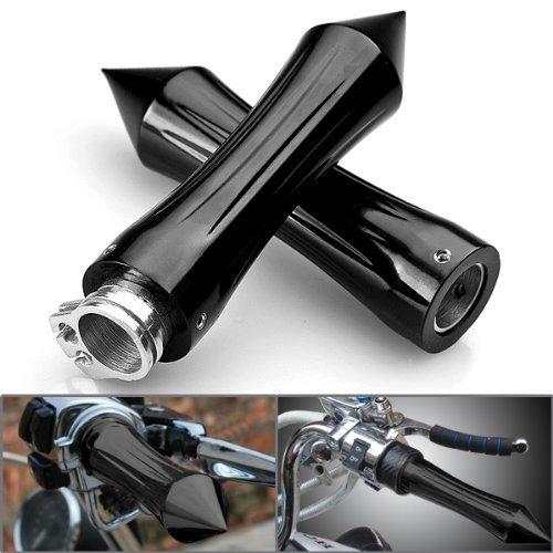 Astra Depot 2x Tribal Spike Black Anodized Billet Aluminum Handlebar Grips with Throttle For 78 inch Handle Bar BMW Harley Honda Suzuki Motorcycle Bike