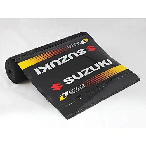 Short Black Pad White Text Suzuki Soft Cushion High-Density Foam Crossbar Handlebar Protectors for ATVs Motorcycles Bikes 787in Long