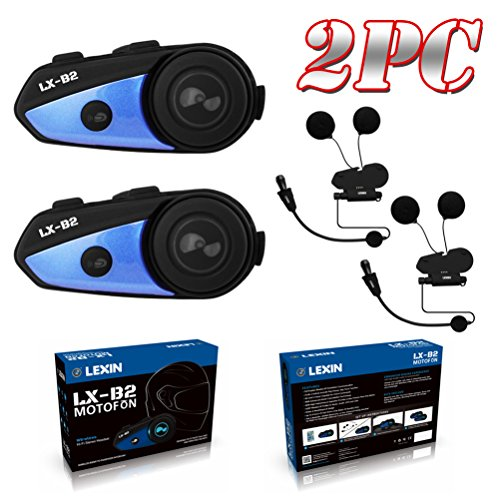 LEXIN 2x LX-B2 MotoFõn BT Interphone Bluetooth Motorcycle Helmet Intercom Universal Wireless Headset Motorbike Communication System with Speakers headphones for Motorbike Skiing for Rider