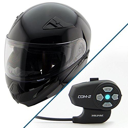 Hawk XFZ-9120 Gloss Black Modular Helmet with Hawk COM-2 Bluetooth Intercom - Large w COM-2 Intercom