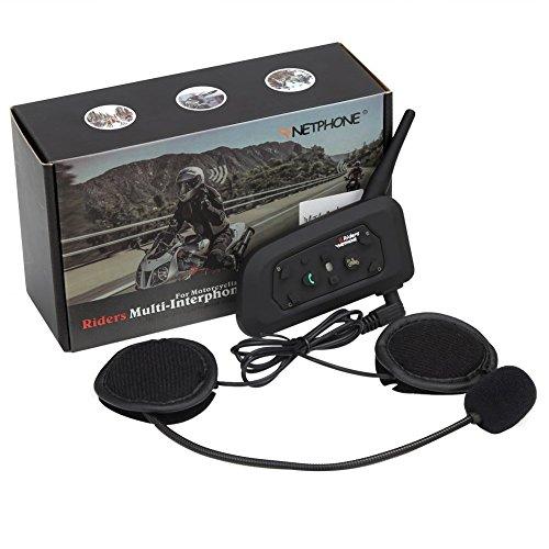 Motorcycle Bluetooth Intercom Headset 1200M Full Duplex Two Way Audio Interphone Motorbike Helmet Bluetooth Headset Skiing Scooter Communication Waterproof Advanced Noise Control Single - V6