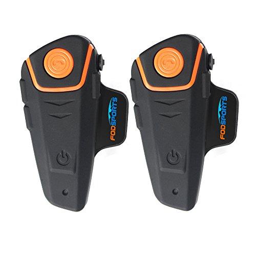 Motorcycle Helmet Bluetooth Intercom Interphone Headset for Riding&SkiingFodsports BT-S2 Helmet Communication SystemsFM Radiodual of soft cable
