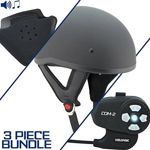 Outlaw T68 DOT Flat Black Half Helmet with Hawk COM-2 Bluetooth Intercom and Sp - Large w COM-2 Intercom