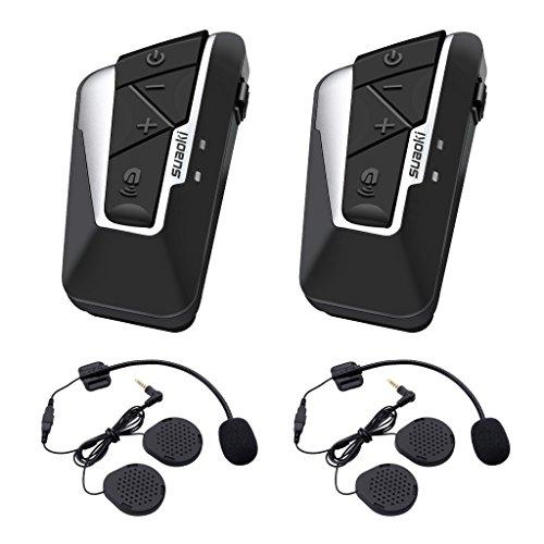 Suaoki T9S Bluetooth Motorcycle Intercom Helmet Headset Communication System with 2 Pairs Microphones for Motorbike Bike ATV Car Dual