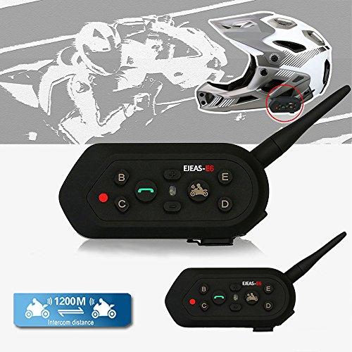Solarphy Waterproof Motorbike Helmet Intercom 1200M 12 Hours Talk Time Bluetooth Motorcycle Interphone Headset Wireless 6 Riders Walkie Talkie Intercom Communicator Helmet Speakers Headphone 2 Pack
