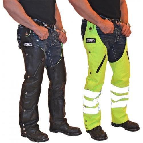 Missing Link G2 D.o.c. Reversible Chaps Men's Leather Harley Touring Motorcycle Pants - Black/hi-viz / Large