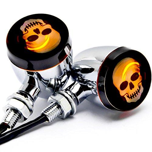 Krator 2pc Skull Lens Chrome Motorcycle Turn Signals Bulb For Harley Davidson Softail Fat Boy FLSTF