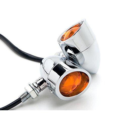 Krator 2pcs Chrome Heavy Duty Motorcycle Turn Signals Bulb Indicators Blinkers Lights