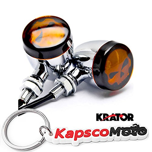 Krator 2pcs Skull Lens Chrome Motorcycle Turn Signals Bulb Indicators Blinkers Lights  KapscoMoto Keychain