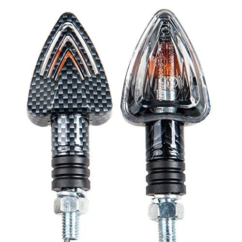 TDH Universal 2pcs Motorcycle Turn Signals Bulb Indicators Blinkers Lights Carbon Look